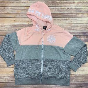 Color block love logo zip up jacket with hood
